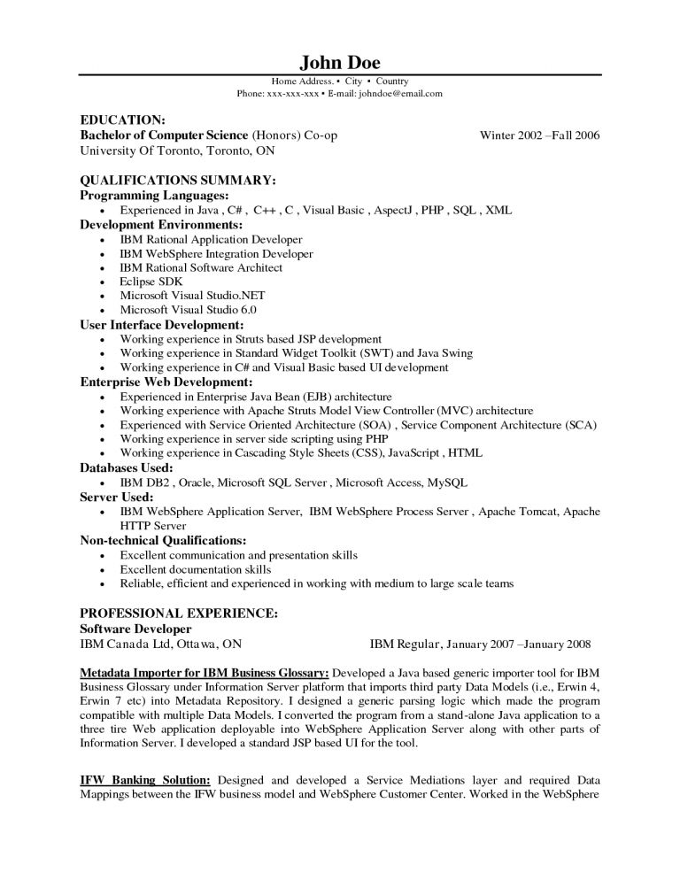 Pretentious Inspiration Java Developer Resume Sample 14 Web ...