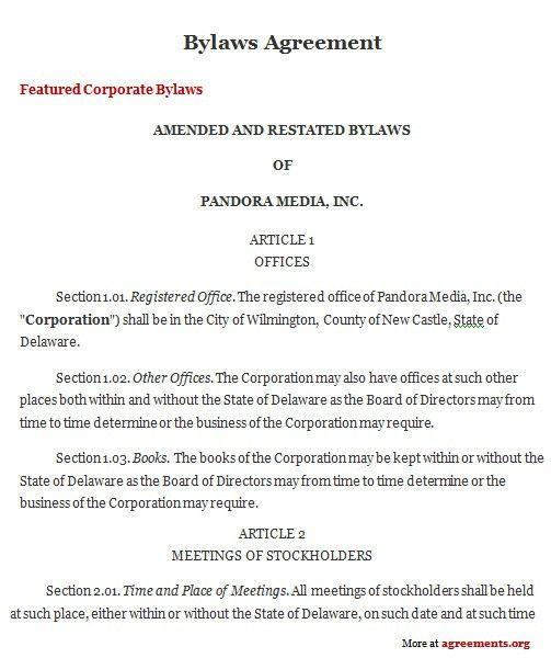 Bylaws Agreement, Sample Bylaws Agreement | Agreements.org