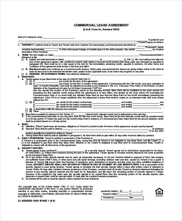 Standard Lease Agreement - 9+ Free PDF, Word Documents Download ...