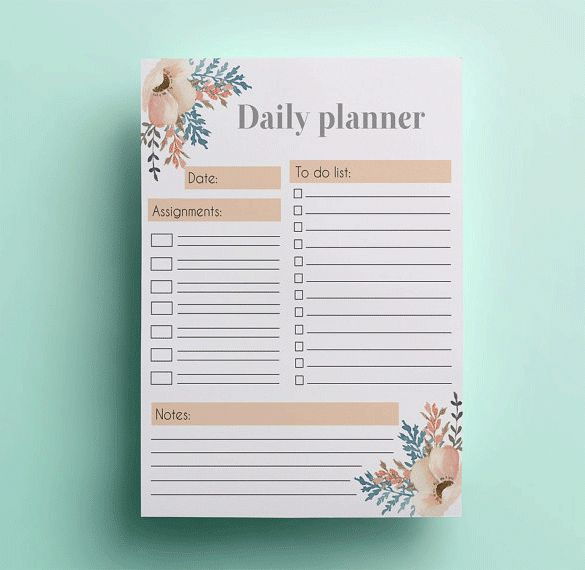 6+ Printable Day Planner Templates – Free Word, Excel, PDF ...