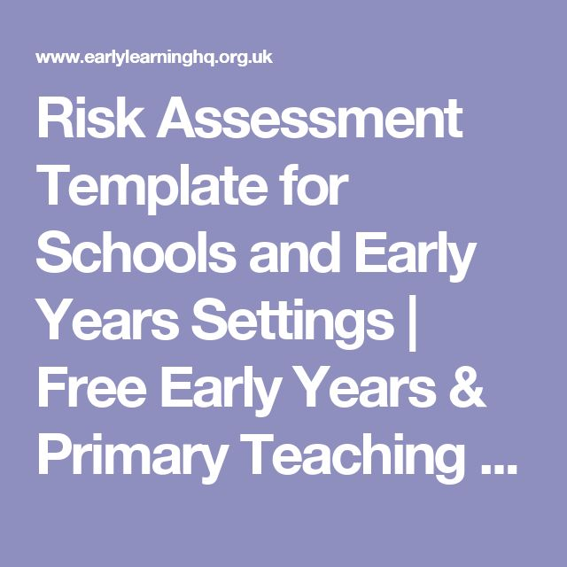 Risk Assessment Template for Schools and Early Years Settings ...