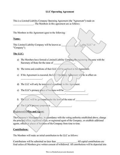 LLC Operating Agreement - Sample & Template