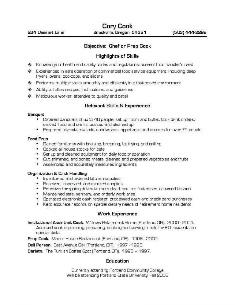 prep cook resume prep cook and line cook resume samples resume