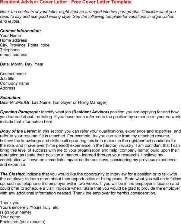 Resident Advisor Cover Letter Andrian James Blog