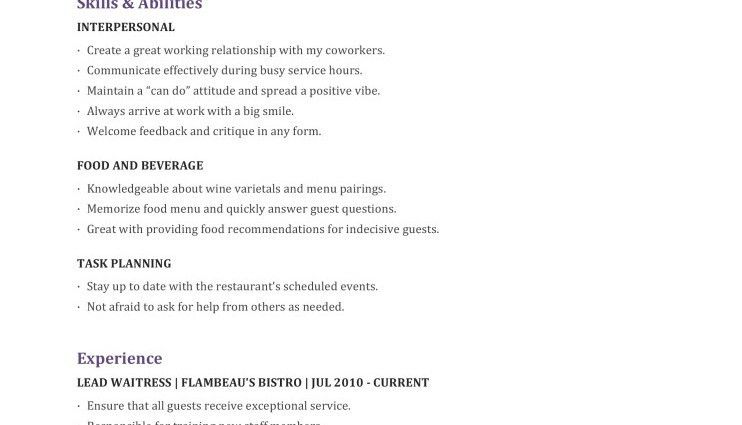 Waitress Name Waitress Resume Template objective skills ...