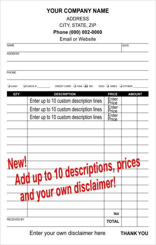 Carbonless Sales Receipt Templates to Personalize | Carbon Copies