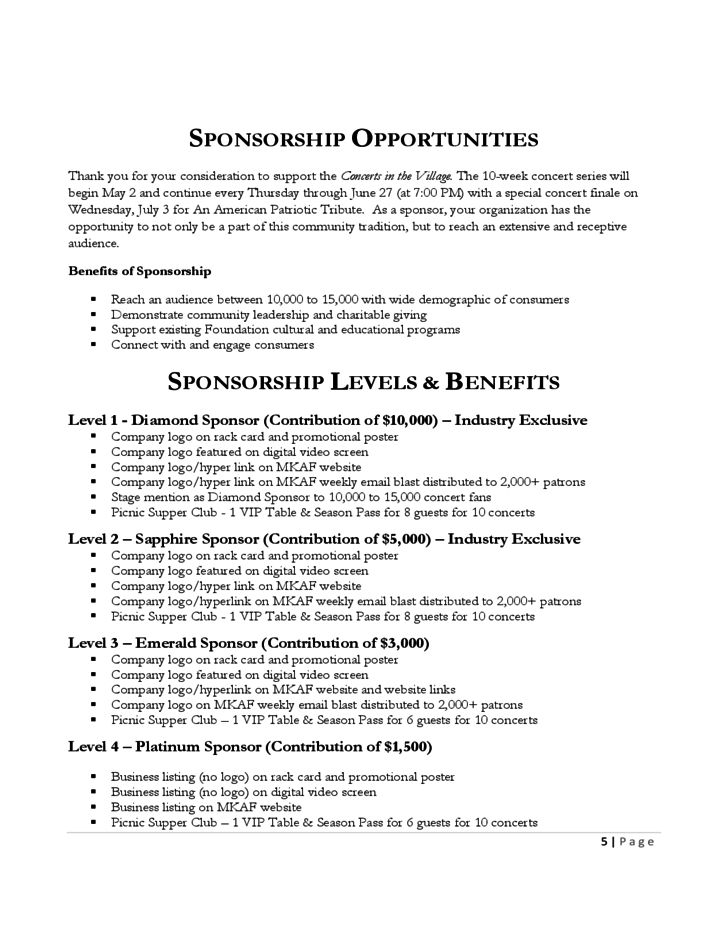 Sponsorship Proposal of Concerts in the Village Free Download
