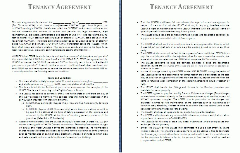 Tenancy Agreement Template | Free Agreement Templates