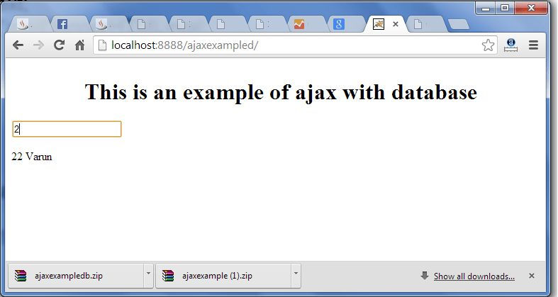 AJAX example with database in Java - javatpoint