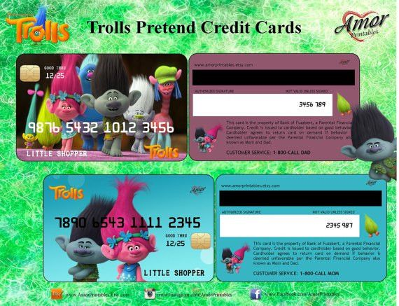 Trolls Pretend Credit Cards and Membership Cards by AmorPrintables ...