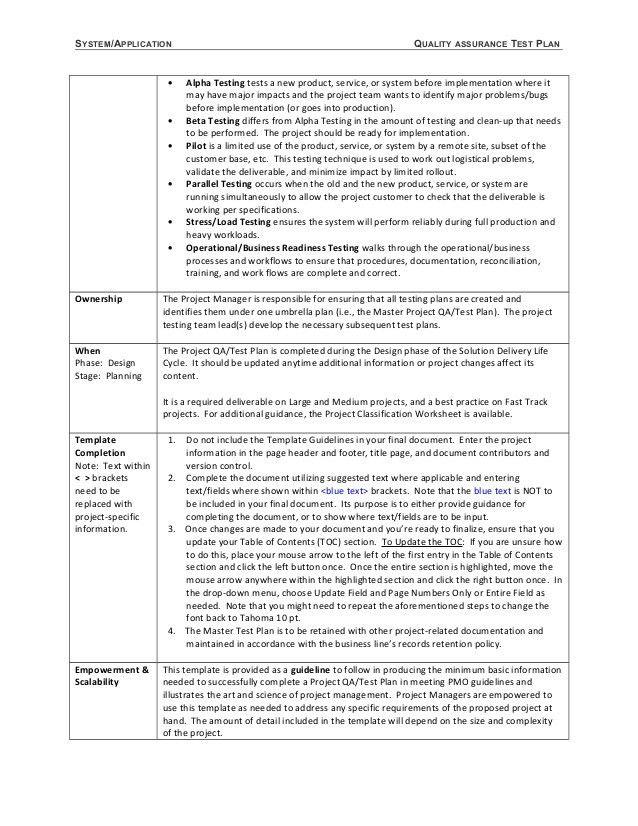 template test plan