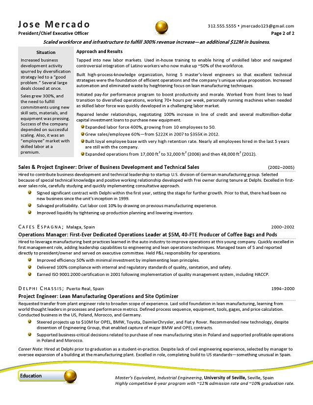 CEO & GM Manufacturing Sample Resume | Kimberly Robb Baker ...