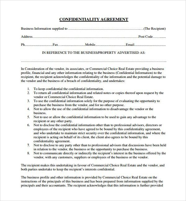 Sample Real Estate Confidentiality Agreement   9+ Free Documents .