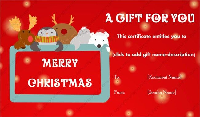 Christmas Gift Certificate Template 15 - Gift Templates
