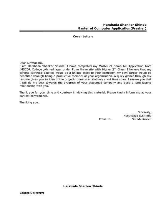 Best Resume Cover Letter Format For Freshers Govt JobCover Letter ...