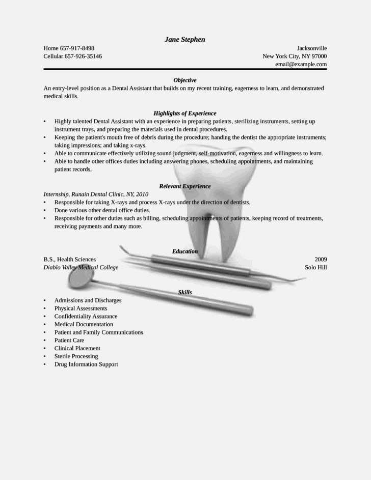Perfect Entry Level Dental Assistant Resume – Resume Template For Free