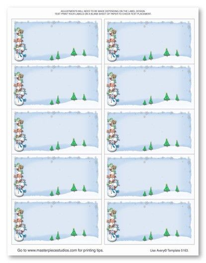Stacked Snowmen Mailing Labels Stationery, 1509