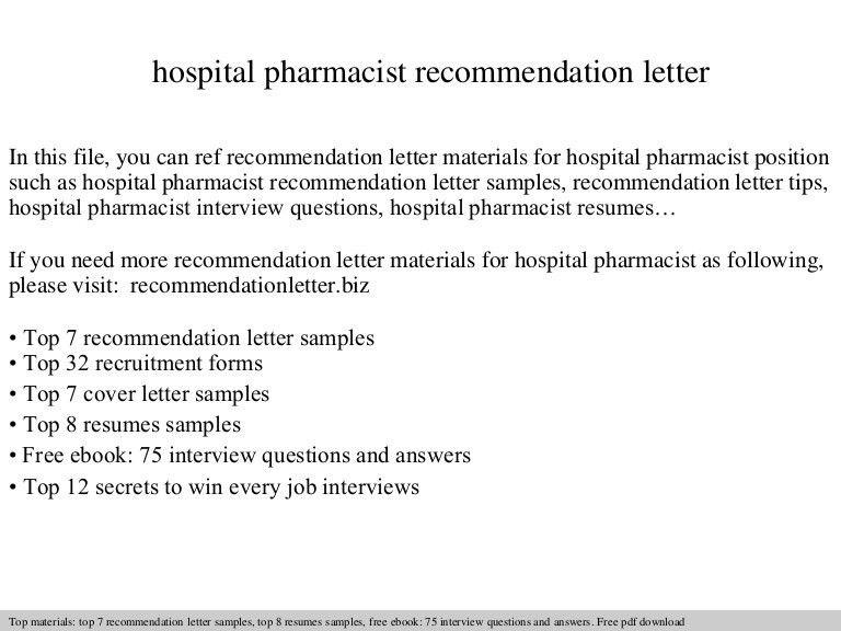 Hospital pharmacist recommendation letter