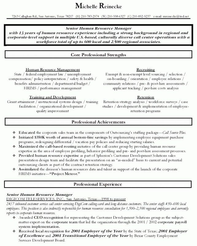 sample resume for human resources manager resume sample for hr