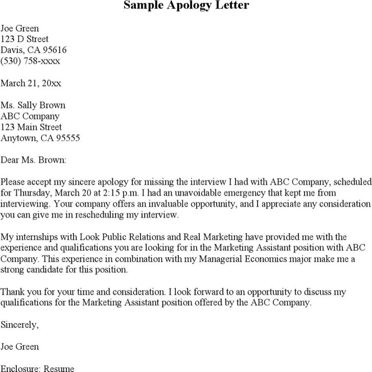 How To Write An Apology Letter For Cancelling A Job Interview ...