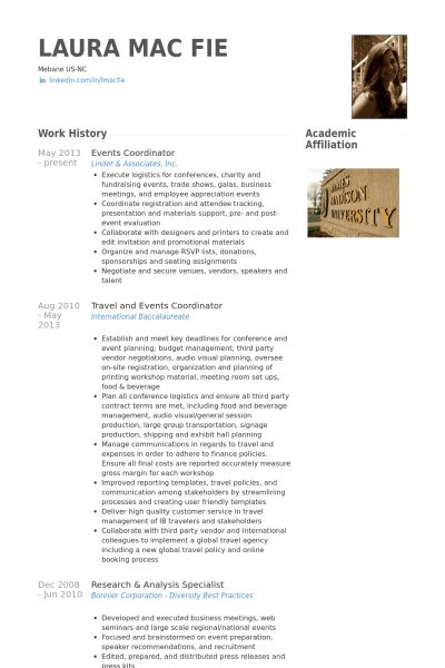 Events Coordinator Resume samples - VisualCV resume samples database