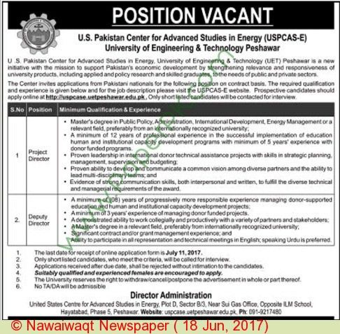 University Of Engineering & Technology Peshawar Jobs on 18 June ...