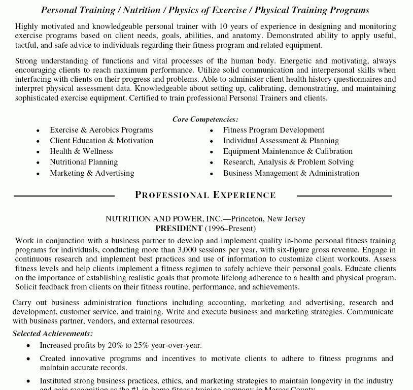 Fitness Trainer Resume - Resume CV Cover Letter