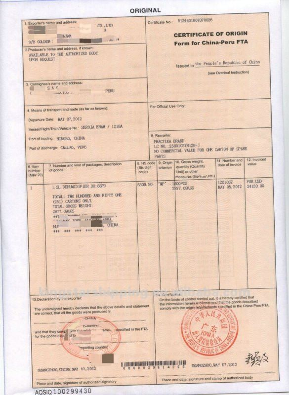 Agent China Certificate Of Origin Form R - Buy Form R,Certificate ...