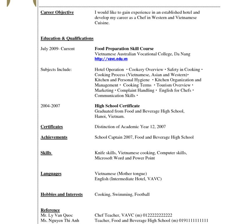resume examples for students with no experience high school