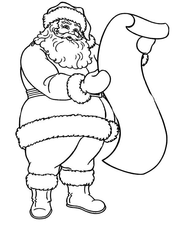 Santa Claus Read Kids Wish List Coloring Pages | Coloring Sky