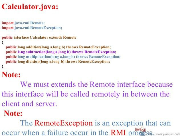 Java rmi example program with code