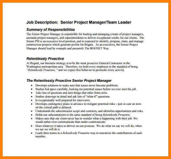 8+ Construction Project Manager Job Description | Introduction Letter