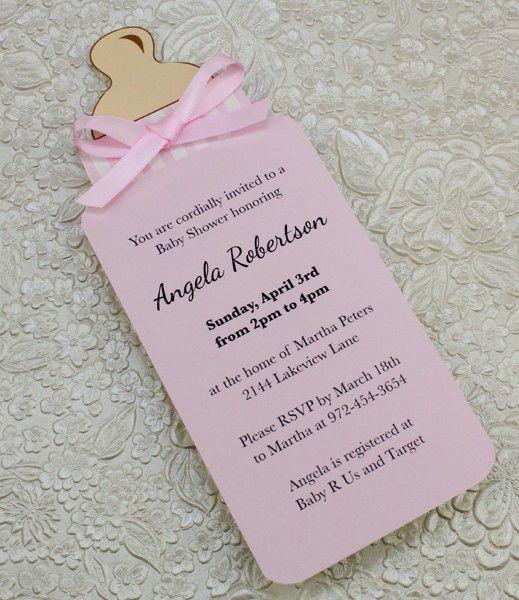 DIY Bottle Baby Shower invitation template for baby girl from ...