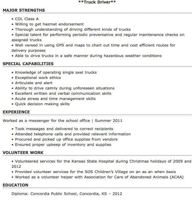Entry Level Truck Driver Resume Sample - http://resumesdesign.com ...