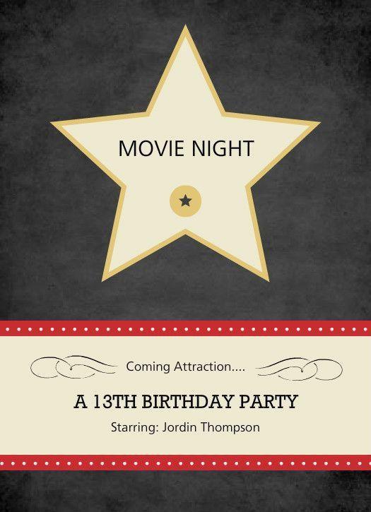 33 best Movie invitations images on Pinterest | Movie night ...