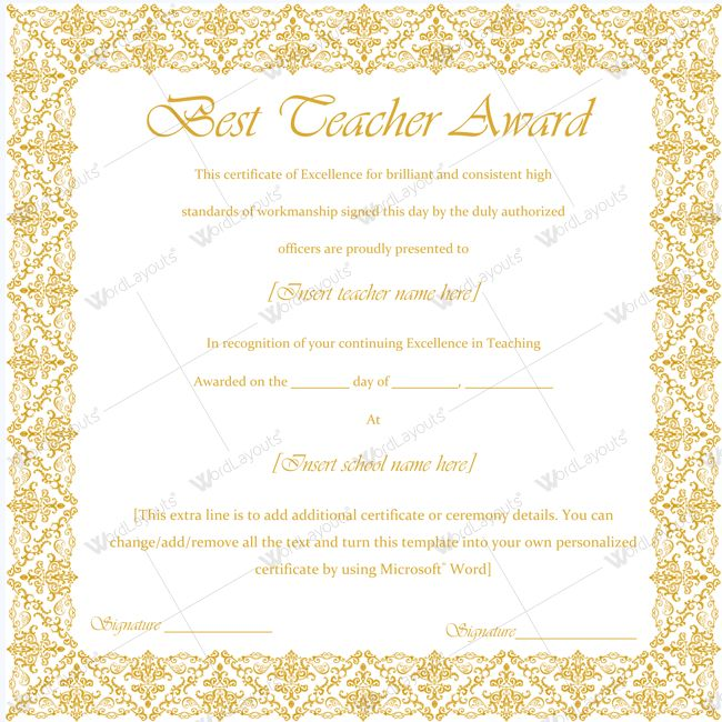 Formal award certificate templates – Certificate of Excellence Template Word