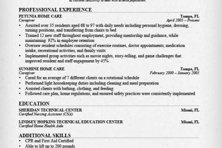 Caregiver Resume Examples No Experience - Reentrycorps