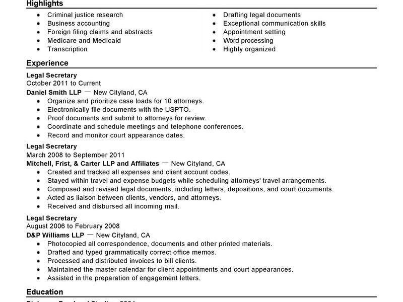secretary objective for resume examples secretary resume sample