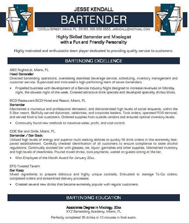 resume for bartenders - Template