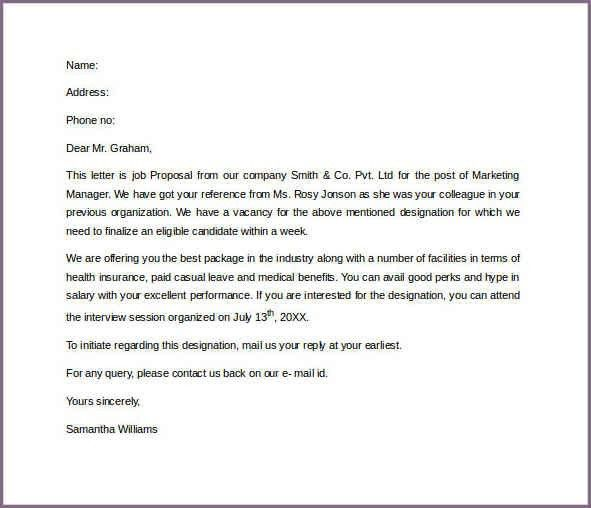 PRODUCT PROPOSAL LETTER SAMPLE | proposalsampleletter.com
