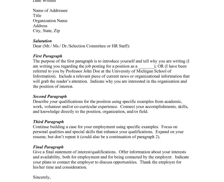 cover letter no specific job