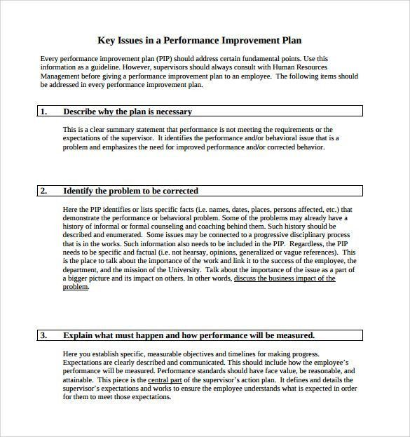 Performance Improvement Plan Template 9 Download Documents in PDF ...