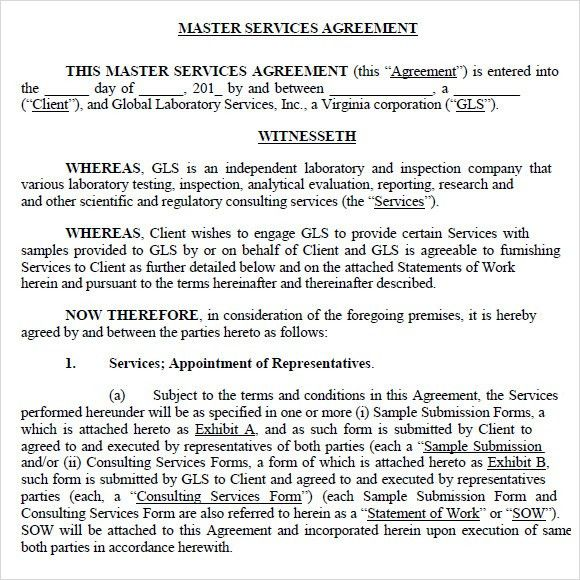 Sample Master Service Agreement  Sample Ideas