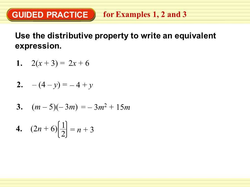 EXAMPLE 1 Apply the distributive property - ppt download