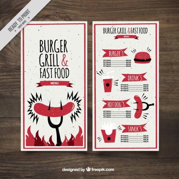 Funny burguer bar menu template Vector | Free Download