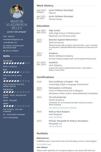 Software Developer Resume samples - VisualCV resume samples database