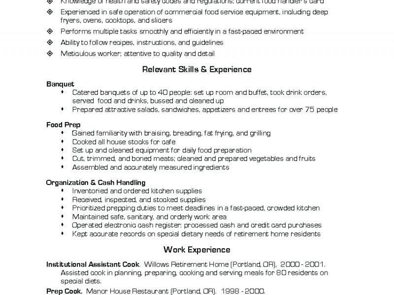 Cook Resume Objective Sample - Contegri.com