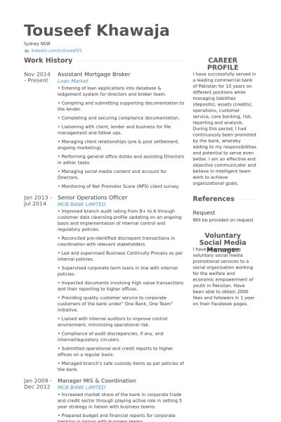 Mortgage Broker Resume samples - VisualCV resume samples database