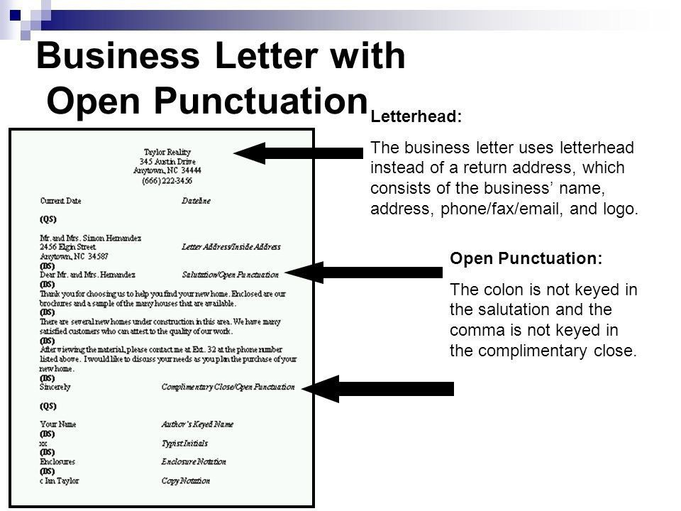 Closed Punctuation Business Letter | The Letter Sample
