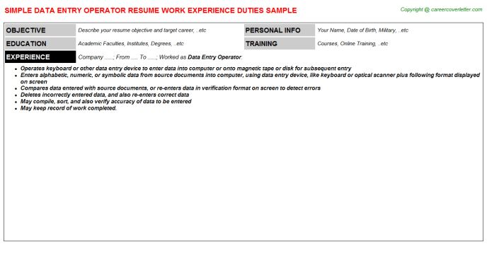 Data Entry Operator Job Title Docs